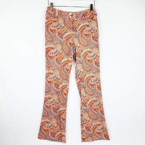J McLaughlin Silk Paisley Pants Coral Orange Flare
